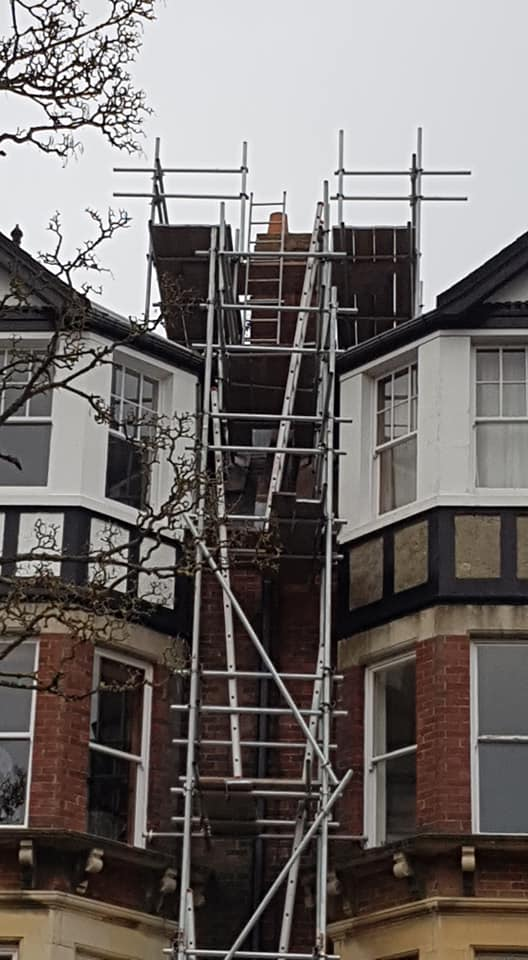 Scaffolding up to Roof